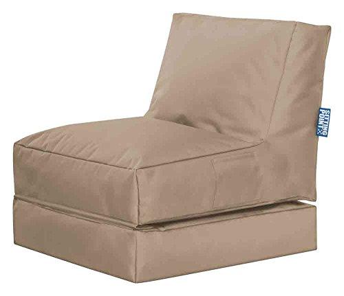 lifestyle4living Sitzsack für draußen in Beige aus wasserabweisendem Microfaserstoff   Bequemer Sitzsackstuhl und Liegesack, 300 l
