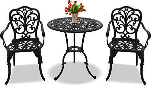 Centurion Supports BANGUI Garden & Patio Table & 2 Chairs Cast Aluminium Bistro Set - Black