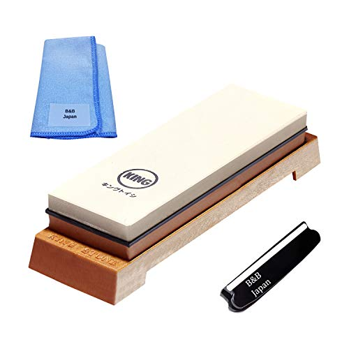 KING Whetstone Starter Set Include 1000/6000 Grit Combination Whetstone made in Japan, Knife Angle Holder, B&B Japan Original Wiping Cloth and Stable Plastic Base