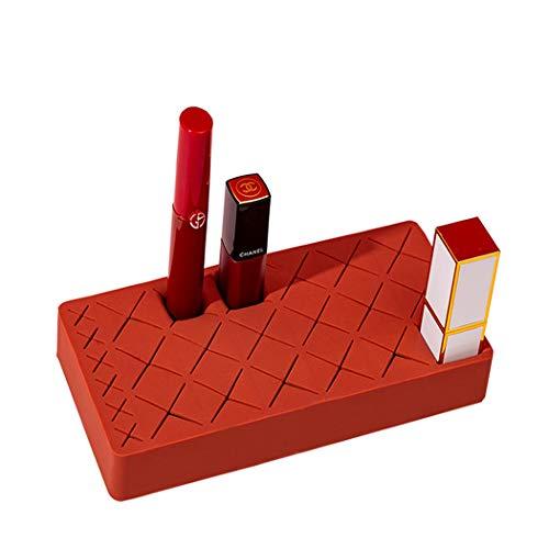 Organizador de lápices de labios de silicona Lythor, soporte de maquillaje para pintalabios, lápices de cejas, brochas de maquillaje, máscara, 24 ranuras (24 ranuras, rojo)