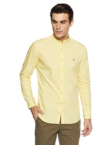 Allen Solly Men's Solid Slim Fit Casual Shirt (ASSFWMOFN83258_Yellow_39)