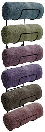 Sorbus Towel Rack Holder - Wall Mounted Storage Organizer for Towels, Washcloths, Hand Towels, Linens, Ideal for Bathroom, Spa, Salon, Modern Design (Black)
