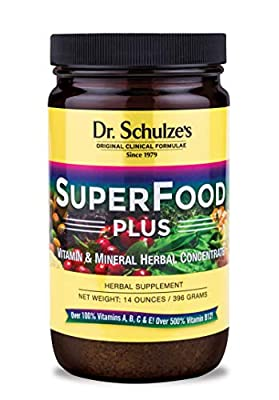 Dr. Schulze?s | SuperFood Plus | Vitamin & Mineral Herbal Concentrate | Dietary Supplement | Daily Nutrition & Increase Energy | Gluten-Free & Non-GMO | Vegan & Organic | 14-Oz Powder per Jar