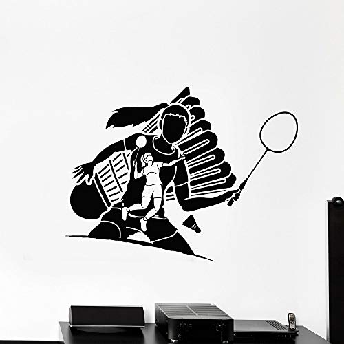 JXMN Deportes de Pelota Vinilo Pared calcomanía Pelota Chica Jugador Juego Tenis Pelota cancha Raqueta Etiqueta de la Pared hogar niña habitación decoración 75x57 cm