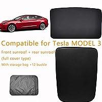 テスラモデル3、UV保護ウィンドウサンシェードメッシュに対応する車のサンシェードバックカーウィンドウバイザー、収納バッグ、折りたた,Front+rear-sunroof(fullcover)