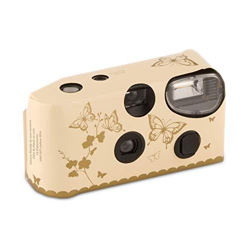 Weddingstar Lote de 10 cámaras desechables para boda con diseño de mariposas doradas, color beige