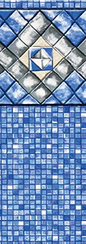 SMOPS Diamond Cube 15-Foot-by-24-Foot Oval Swimming Pool Liner | Unibead Style | 54 Inch Wall Height | 25 Gauge Virgin Vinyl | Blue | Beautiful Pattern | Easy Install
