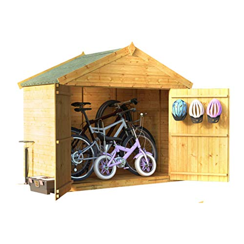 BillyOh Mini Keeper Overlap Apex Bike Store, Overlap Wooden Apex Bike Log Storage Double Door Roof Felt Store Shed (3x6)