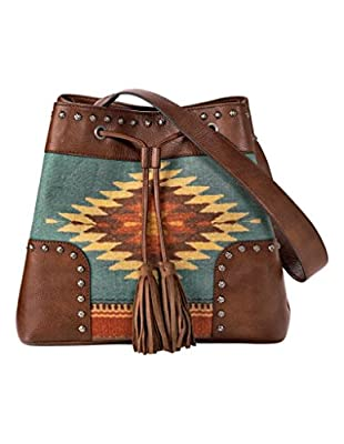 M&F Western Women's Zapotec Bucket Bag Brown One Size