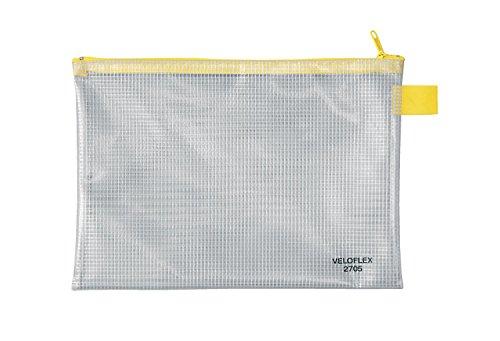 Veloflex 2705000 - Reißverschlusstasche, Mundschutzbeutel, Dokumententasche, A5, PVC, gewebeverstärkt, transparent, 1 Stück, klar, DIN A5