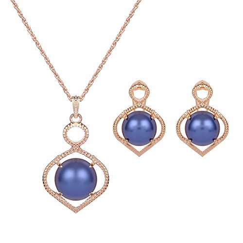 Mode legering inlay boren high-end tweedelige partij mode ketting Oorbel Ring Sieraden Set