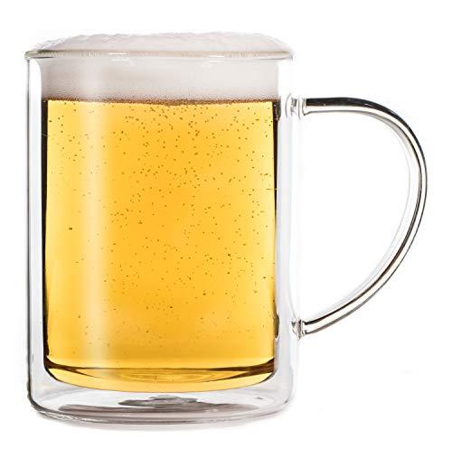 Feelino Jarra de cerveza de doble pared de 600 ml, vaso de cerveza, cristal de doble pared, taza de té, taza de café, cristal térmico, mantiene el frío durante más tiempo, trigo.