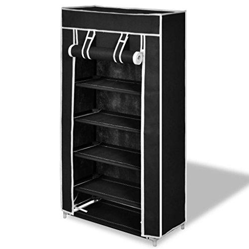 vidaXL Gabinete de Zapatos de Tela con Cubierta 58x28x106 cm Negro Zapatero
