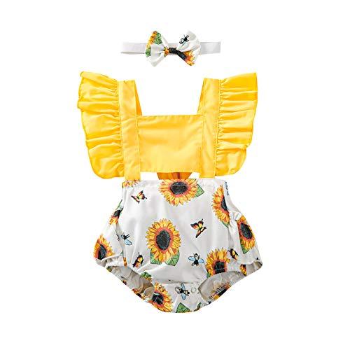 Mono completo de verano para recién nacido, 2 piezas, pelele de manga volante, estampado de girasol y abeja + banda con lazo para fiesta Body de niña Girasoles. 70 cm