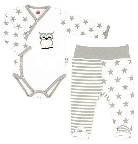 Makoma Baby-Mode Mädchen Erstausstattung 2tlg. Body Wickelbody & Hose mit Fuß -Kollektion Eule- (56-68) (56, Sterne)