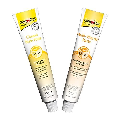 GimCat Beauty-Mix - Praktische Kombination aus Cheese Biotin und Multi-Vitamin Paste für Katzen - 1 Mixpack (2X 50g)