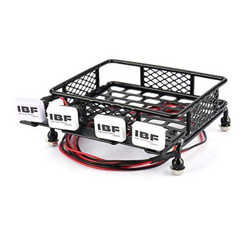 Morninganswer Portaequipajes de Techo pequeño con 4 Barras de luz LED cuadradas, camión de Oruga de Coche RC para Axial SCX10 D90 110 Traxxas