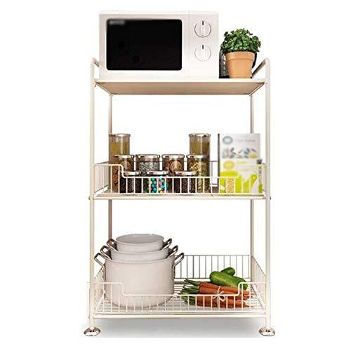 Four micro-ondes numérique Organisateur de cuisine Support de rangement Four à micro-rack Machine à pain Légumes à poser au sol Support de rangement, 3 étages, 2 couleurs Spice Cuisinière four à micro