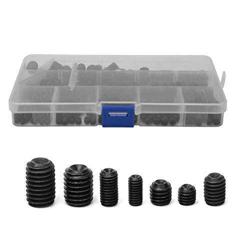 con caja de plástico de almacenamiento, acero al carbono negro, 250 piezas, conjunto de surtido de tornillos, suministros industriales para el padre