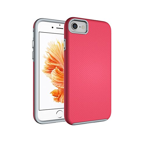 DELANSHI mobiele telefoon compatibel met IPhone 7 back case bal textuur anti-slip PC + TPU schokbestendige beschermer cover back shell, Magenta