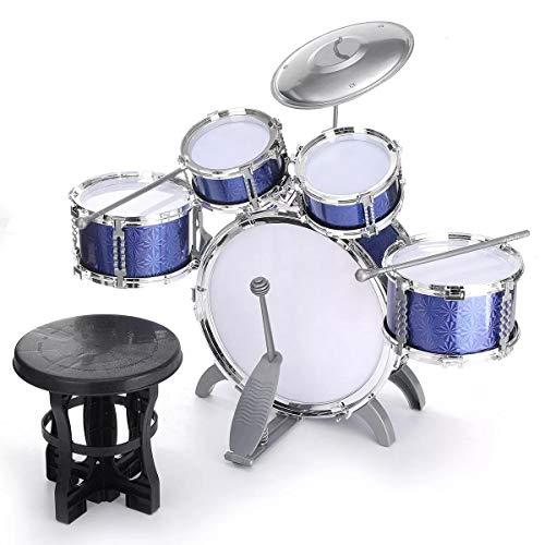 Percussion Set Schlaginstrument Jazz Drum Kids Set Kit Musical Educational Instrument 5 Drums + 1 Cymbal mit Hocker Drum Sticks