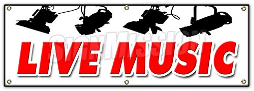 72' Live Music Banner Sign Band Trio Rock and roll Swing no Cover Cocktails