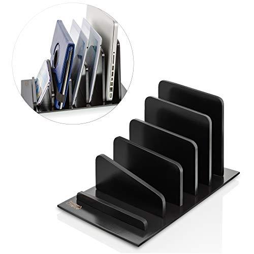 Prosumer's Choice Bamboo 5 Device Tablet Smartphone Rack and Desktop Organizer Holder for File Folders Magazines - Black