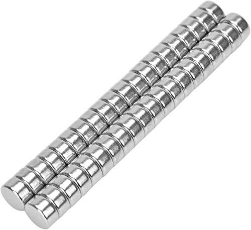 Willingood Neodym-Super-Magnete Runden 8 x 3 mm [50 Stücke] Sehr starke Magnete für Glas-Magnetboards, Magnettafel, Whiteboard, Tafel, Pinnwand, Kühlschrank, und vieles mehr