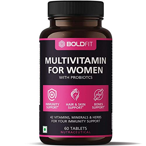 Boldfit Multivitamin For Women With Probiotics Supplement With 42 Vital Ingredients For Immunity, Hair, Skin, Energy & Bone Support – 60 Vegetarian Tablets