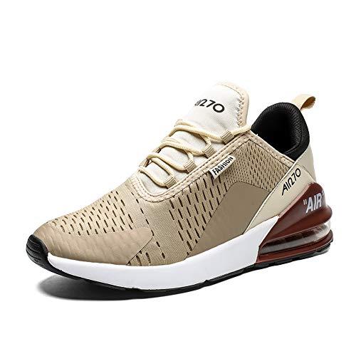 Uomo Scarpe da Ginnastica Corsa Sportive Traspirante Casual All'Aperto Trekking Fitness Running Antiscivolo Leggero Sneakers(270-Marrone,44EU)