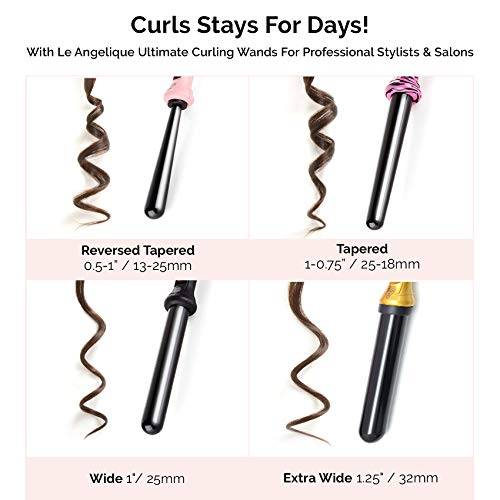 Le Angelique 1.25 Inch Large Barrel Ceramic Curling Wand for Long Hair & Big Beach Waves Curls - 32 mm Professional Thick Wide Curler Iron with Glove And 2 Clips, 450F Instant Heat, Dual Voltage -Pink