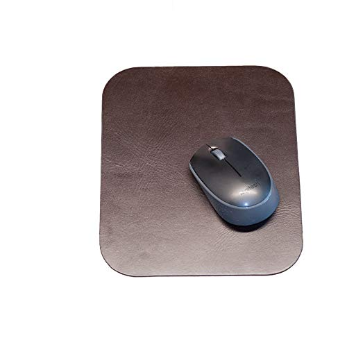Hochwertiges Mousepad/Mauspad fürs Home-Office aus echtem Anilin-Leder, Braun, Hamosons 26304