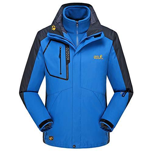TBATM Herren-Jacke in Übergröße, Outdoor 3 in 1 Softshell-Jacke Abnehmbarer, Wasserdichter Winddichter Samtmantel Für Skitouren,Blau,8XL