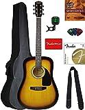 Fender Squier Dreadnought Acoustic Guitar - Sunburst Bundle with Gig Bag, Tuner,...