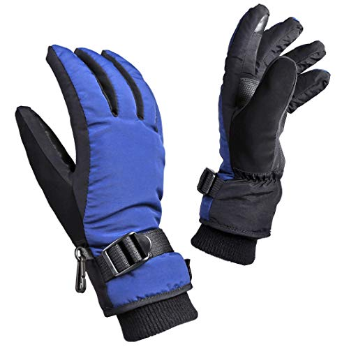 OZERO Winter Gloves, 3M Thinsulate Insulated Touch Screen Ski Gloves - Waterproof Windproof for Skiing, Snowboarding, Cycling, Outdoor Sports (Blue-Black)