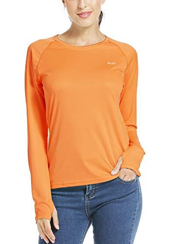 Willit Damen LSF 50+ Sonnenschutz-T-Shirt, langärmelig, LSF Wandern, Outdoor-Performance, schnelltrocknend - Gelb - X-Groß