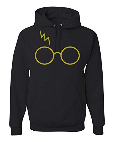 Gold Wizard Glasses Scar Unisex Hooded Sweatshirt Fashion Hoodie ( Black , Medium )