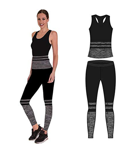Bonjour - Abbigliamento sportivo da donna/canotta e leggings (set da 2 pezzi, top e leggings), set da palestra o per yoga, elasticizzato, Black Stripe Vest Top, One Size ( UK 8 - 14 )