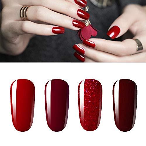 Vishine Gel Nail Polish Kit 4pcs Soak Off Burgundy Red Nail Polish Set New Starter Nail Art Manicure Gift Set 15ml