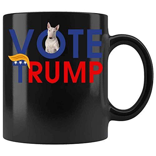 N\A Vote a Trump por la Taza de café del Bull Terrier del Presidente. Taza Donald Trump 2020. Taza Divertida Amante del Perro de Brass Burro (Negro,)