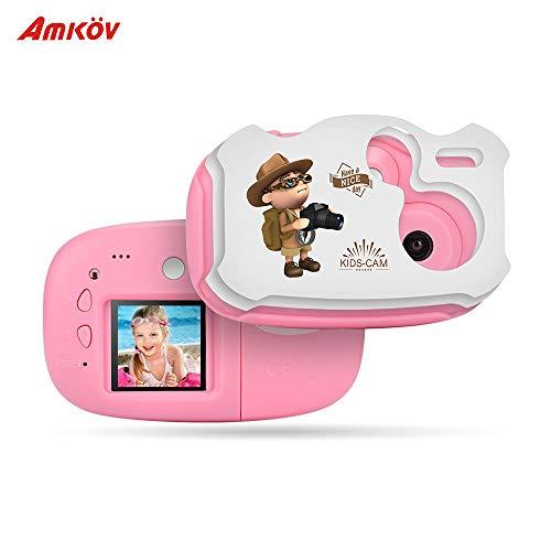 TOPTOO Amkov Mini Kinder Digitale Videokamera Eingebauter Akku mit Cartoon Aufkleber Weihnachten Neujahr Geburtstag Festival Geschenk für Kinder Jungen Mädchen