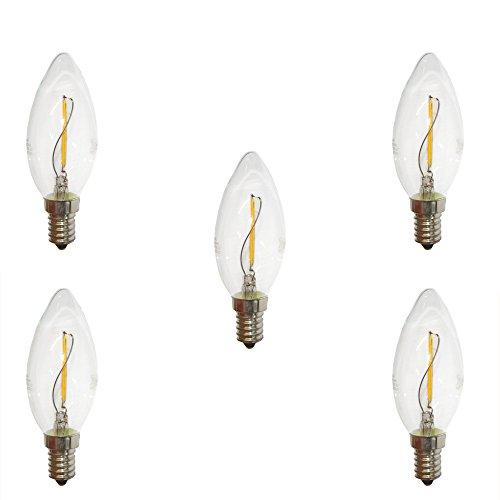 5 x LED Filament Kerze 1W fast wie 15W klar E14 100lm Glühlampe Fadenglühbirne warmweiß 2700K