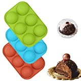 3 PCS Semi Sphere Silicone Chocolate Mold with 6-Cavity, Baking Mold for Making Hot Chocolate Bomb,...