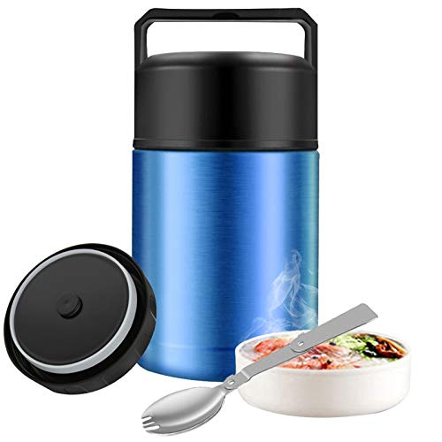 Food Thermos,27oz Wide Mouth Soup Thermos for Hot Food with Folding Spoon,Insulated Food Jar,Leak Proof Soup Thermos,Stainless Steel Vacuum Lunch Container Flask Bento Box for Kids Adult (Blue)