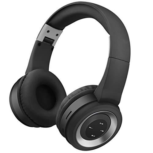 Soapow Auriculares inalámbricos BT con cancelación de ruido sobre la oreja con micrófono para viajes, trabajo, televisión, ordenador/teléfonos móviles (negro + plata)