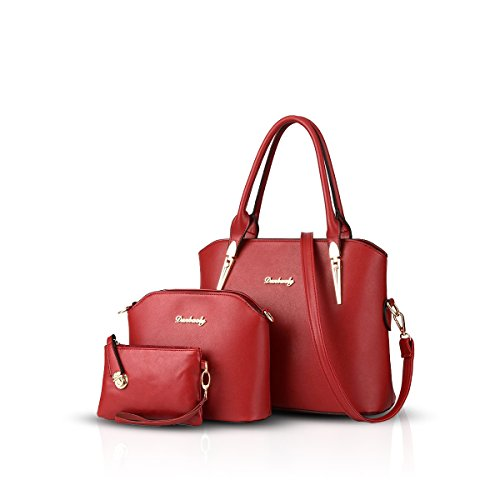 NICOLE & DORIS Handtaschen Damen 3 Stück Handtasche für Damen Totes Taschen Umhängetaschen Schultertaschen Rot
