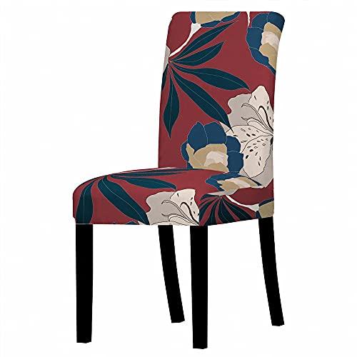GVJKCZ Fundas para sillas,Hojas de Flor de Dibujos Animados de Ceniza Azul Rojo sillas Elásticas y Modernas Funda Asiento Silla,Extraíbles y Lavables-Decor Restaurante,8 Piezas