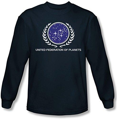 Star Trek - - Fédération unie Logo Tee shirt manches longues Homme En Marine, Large, Navy