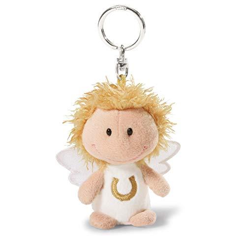 """NICI, Schlüsselbund & Schlüsselk pass auf dich auf"""", Glücksbringer Schutzengel Engel Schlüsselanhänger für Schlüsselband, Schlüsselbund & Schlüsselkette I 34555, weiß mit Hufeisen, 7 cm"""