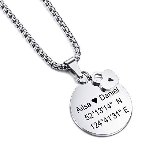 MEMEDIY Customized Name Halskette Personalisierte Gravur Geschenk für Männer Frauen Jungen Mädchen Edelstahl Round Lock Anhänger mit 3 mm breiten 24-Zoll-Kette
